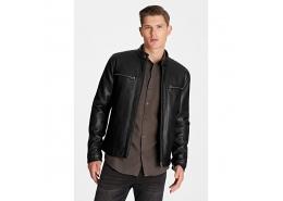Mavi Jeans Suni Deri Erkek Siyah Biker Ceket