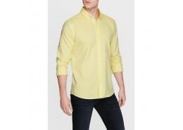 Erkek Cepsiz Sarı Oxford Gömlek (%100 Pamuk)