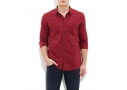 Çift Cepli Erkek Kırmızı Gömlek