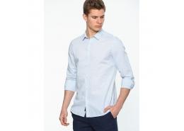 Erkek Vintage Mavi Keten Gömlek (020614-23638)