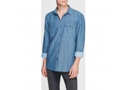 Çift Cepli Erkek Mavi İndigo Gömlek (020678-24415)