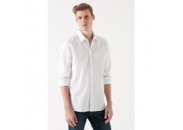 Erkek Cepsiz Düz Beyaz Gömlek