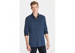 Çift Cepli Erkek Mavi İndigo Gömlek
