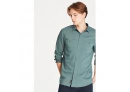 Çift Cepli Erkek Yeşil İndigo Gömlek