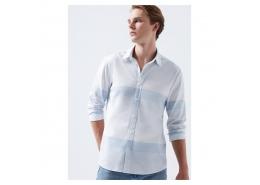 Çizgili Erkek Mavi Gömlek (021538-31341)