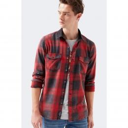 Kareli Erkek Kırmızı Gömlek (021659-32334)