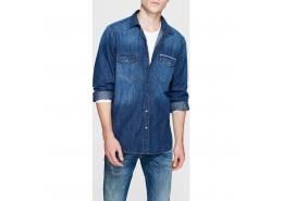 Andy Erkek Koyu Mavi Kot Gömlek