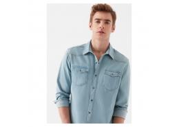 Rio Vintage Erkek Mavi Kot Gömlek