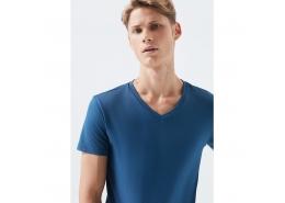 Mavi V Yaka Streç İndigo Erkek Basic Tişört