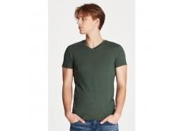 V Yaka Streç Yeşil Erkek Basic Tişört