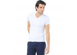 Mavi Jeans V Yaka Streç Beyaz Erkek Basic Tişört