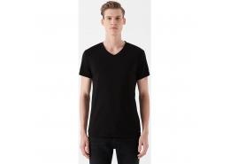 V Yaka Streç Erkek Siyah Basic Tişört