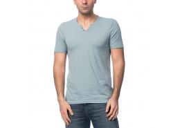 Düğmeli V Yaka Erkek Mavi Tişört
