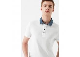 Denim Yaka Detaylı Erkek Beyaz Polo Tişört