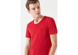 Mavi Erkek Basic Düz Kırmızı Günlük Tişört