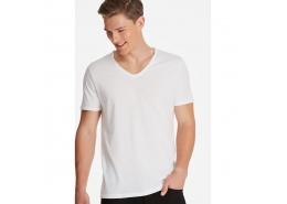 Mavi Erkek V Yaka Beyaz Basic Tişört
