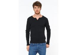Mavi Jeans Düğme Detaylı Siyah Sweatshirt