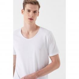 V Yaka Erkek Beyaz Tişört (064019-620)