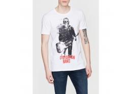 Distortion Band Baskılı Erkek Beyaz Tişört