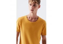 Erkek Sarı Basic Ti̇şört  (064681-32173)