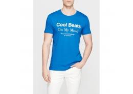 Cool Beats Baskılı Erkek Mavi Tişört