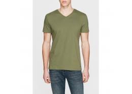 V Yaka Tişört Yeşil