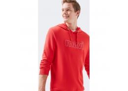 Mavi Logolu Erkek Kapişonlu Kırmızı Sweatshirt