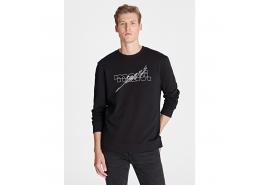 Logo Baskılı Kapüşonsuz Erkek Siyah Sweatshirt