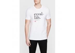 Lugat365 Eyvallah Baskılı Erkek Beyaz Tişört