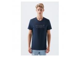 Mavi Logo Baskılı Erkek Lacivert Tişört