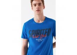 Logo Baskılı Erkek Mavi Tişört