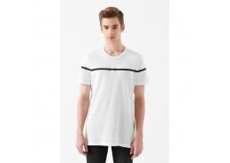 Çizgi Baskılı Erkek Beyaz Tişört (065968-620)