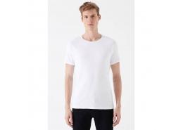 Bisiklet Yaka Beyaz Basic Tişört (06605622)