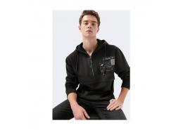 Logo Baskılı Black Pro Fermuar Detaylı Siyah Sweatshirt