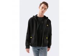 Cep Detaylı Fermuarlı Black Pro Sweatshirt (066640-900)