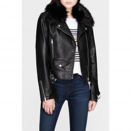 Yakası Kürklü Kadın Siyah Ceket (110340-900)