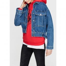 Cep Detaylı Vintage İndigo Kadın Kot Ceket