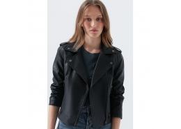 Suni Deri Kadın Siyah Biker Ceket (110460-900)