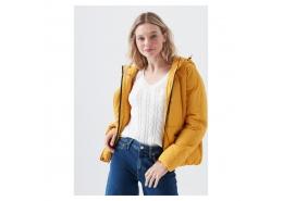 Mavi Jeans Kadın Kapüşonlu Sarı Şişme Mont