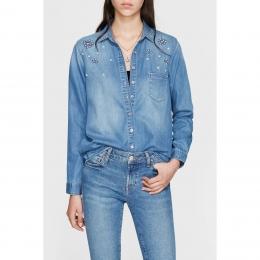 Pearl Indigo Kadın Denim Gömlek (121324-25451)