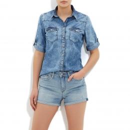 Eliza Kadın Mavi Jean Gömlek (121450-23606)