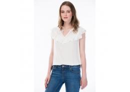 Fırfır Detaylı Kadın Beyaz Bluz (121832-25705)