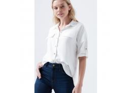 Kadın Cepli Beyaz Gömlek (121927-32158)