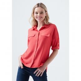 Mavi Jeans Kadın Cepli Kırmızı Gömlek