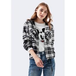 Mavi Jeans Kapüşonlu Kadın Siyah Beyaz Gömlek