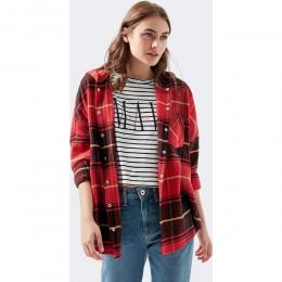 Mavi Jeans Kapüşonlu Kadın Kırmızı Gömlek