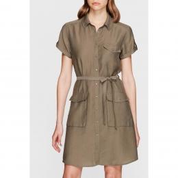 Cep Detaylı Yeşil Kadın Elbise