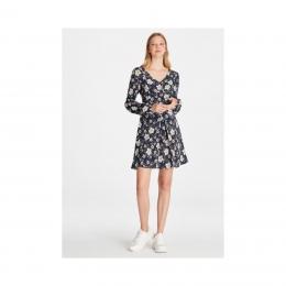 Kadın Çiçek Desenli Lacivert Elbise