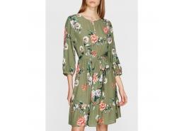 Kadın Çiçek Baskılı Zeytin Yeşili Elbise