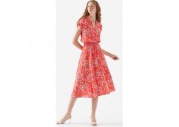 Mavi Kısa Kollu Çiçek Baskılı Kadın Kırmızı Elbise